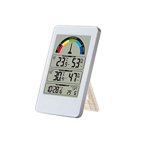 WSY Digital-Wetterstation, großes Touchscreen Innen Hygrometer Thermometer Überwachungsraum-Hintergrundbeleuchtung Auto-Set-Up Mondphasenuhr Barometer Prognose, Home-Außensensor,A