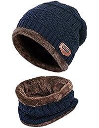 39aa7444b29 ZZLAY Kids Winter Thick Beanie Hat Scarf Set Slouchy Warm Snow Knit Skull  Cap