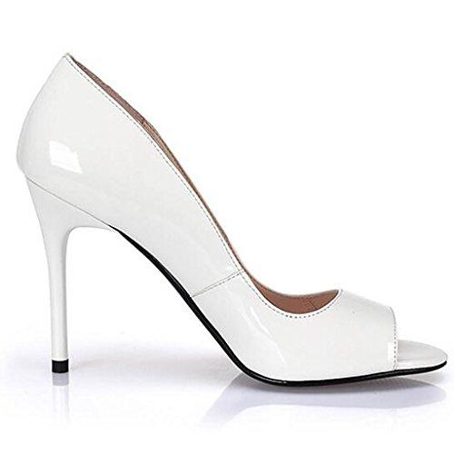 W&LMScarpe Donna scarpe testa di pesce sandali dito del piede scarpe bocca superficiale Super-tacchi alti white 12 cm