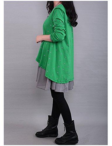 BININBOX Mädchen Damenkleid Bumwolle Umstandsmode Kleid Punkt Langarm kleid Rundkragen Angenehm Süß Partykleid Grün