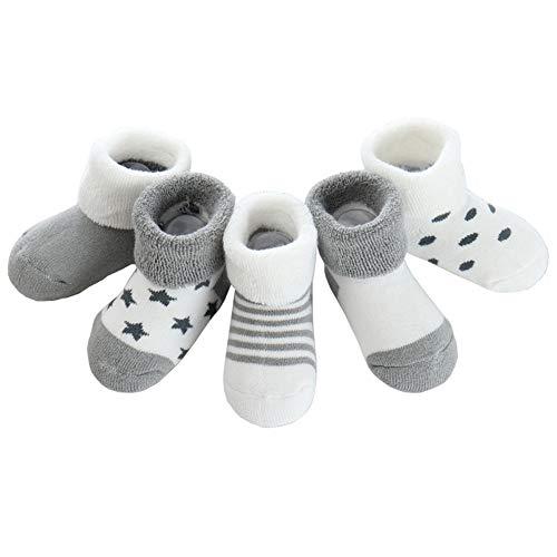 Z-chen calzini in cotone inverno, bambini e neonati, confezione da 5 paia, grigio, 6-12 mesi