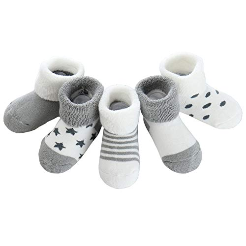 Z-Chen 5er Pack Baby Baumwolle Thermo-Socken, Grau, 0-6 Monate