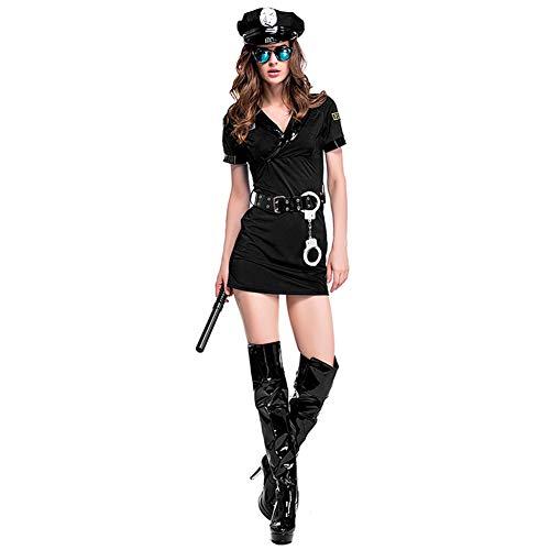 Sijux Paare Kostüme Polizist Uniform Cosplay Maskerade Kostüm Dessous Cops Outfits mit Handschellen,WomenBlack