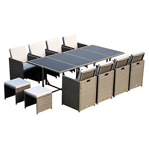 Outsunny Polyrattan Sitzgruppe Gartenmöbel Sitzgarnitur 33 tlg. mit Kissen Stahl Grau
