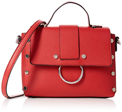 New Look Olivia Round Metal, Sacs bandoulière femme, Rouge (Bright Red), 6x15x23 cm (W x H L)