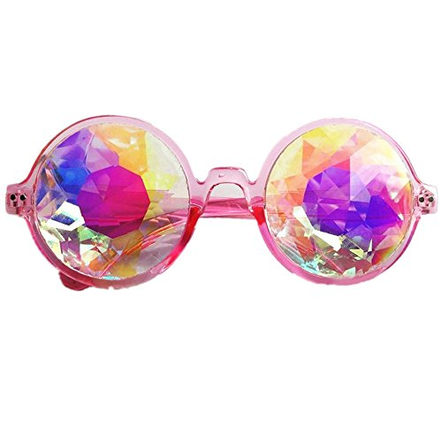 3Farben Kaleidoskop Gläser Rainbow prism- Rainbow Rave Prism Diffraction für Musik Festivals, Licht zeigt, rosa