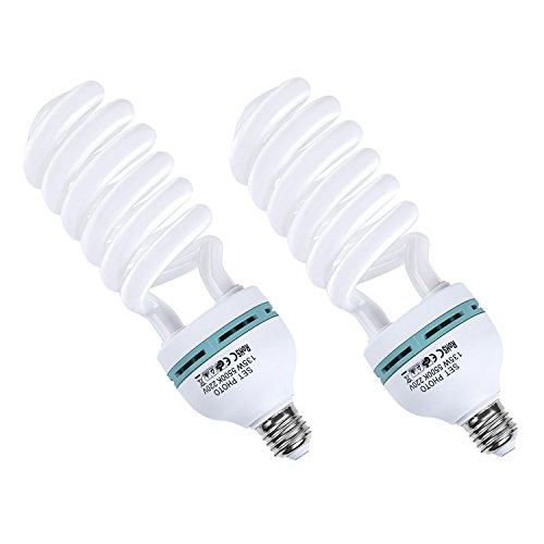 Amzdeal Fotolampe 2x135W Fotoleuchte Tageslichtlampe Glühlampe Dauerlicht Energiesparlampe E27 Birne für Fotostudio Studioleuchte