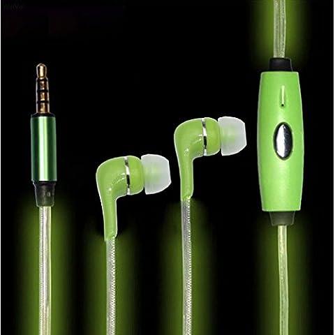 AsiaLONG fluorescente 3,5mm jack Wired auricolari glowing el lampeggiante per cuffie auricolari con microfono + Micro USB Cavo di ricarica e sincronizzazione dati per dispositivi Jack Stereo da 3,5mm per Samsung S4/S5/S6, iPhone 5S/6/6Plus/6S/6S Plus, iPad Air 2LED Luci lampeggianti con il Beats di musica