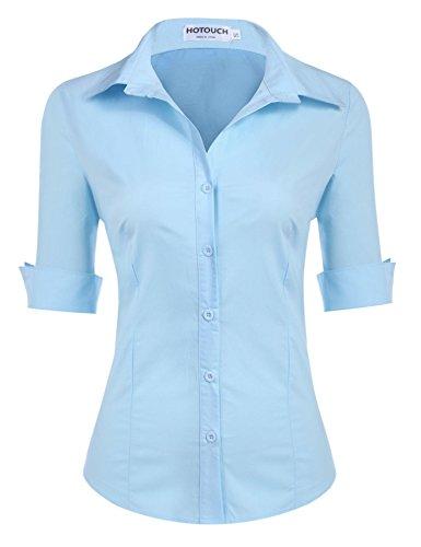 HOTOUCH Damen Shirt Kurzarm Schlank Hemd Arbeitshemd mit Knöpfen Casual Einfarbig Oberteil Bluse Sommer Blau XXL (Button-down Kurzarm-arbeitshemd)