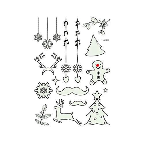 SUPER HOME 5pcs Wasserdicht Weihnachten Leuchtende Glühende Tätowierung Aufkleber Glow in The Dark Tattoo Aufkleber Fake Tattoo Aufkleber Perfekt für Geburtstagsfeier Weihnachtsdekoration Stil 2 (The Glow Partys Zubehör In Dark Für)
