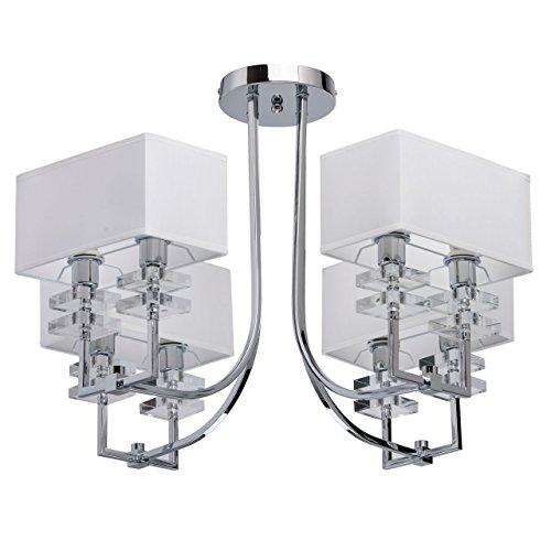 Mw-light 101010708 lampadario da soffitto metallo cromo paralume bianco e14 8 x 40w escl