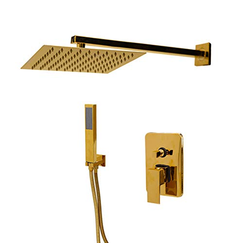 Gold Plate Solid Brass Wall Ceiling Mount Rainfall Bathroom Shower Set Height Handheld Bathtub Mixer Tap Faucet A Gold Wall Plate