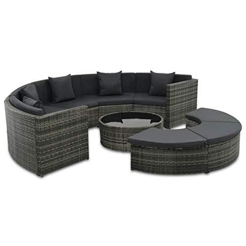Festnight- 25-TLG. Gartensofa-Set Garten Sofagarnitur mit Couchtisch und Polster | Gartenm?Bel Lounge Couch | Polyrattan Glastischplatte Stahlrahmen | Outdoor Sofa Sitzgruppe