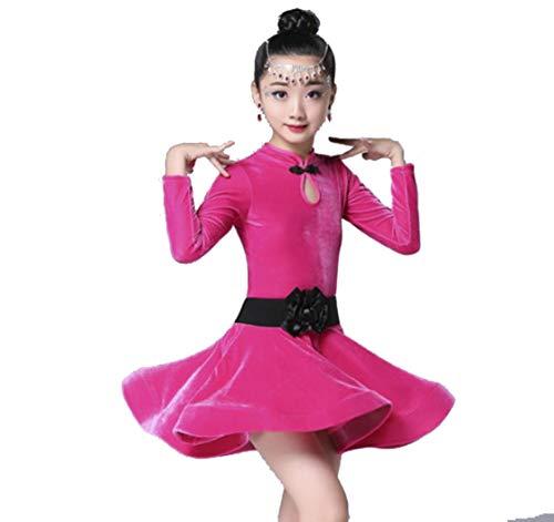 SMACB Weibliche Kinder Tanz Kostüme Samt Praxis Kleidung langärmeligen Herbst und Winter Tanzwettbewerb Kostüme blau lila Rose rot,Pink,140CM