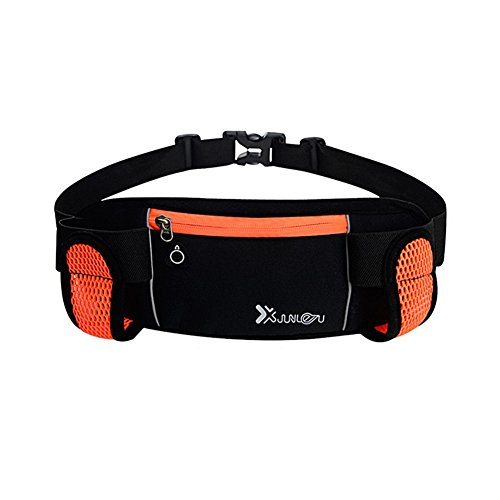 Reefa Laufband Multifunktionale Reißverschlusstaschen Wasserdichte Taille Tasche mit 2 Wasserflaschen Taillenpaket zum Laufen Wandern Radfahren Klettern Orange