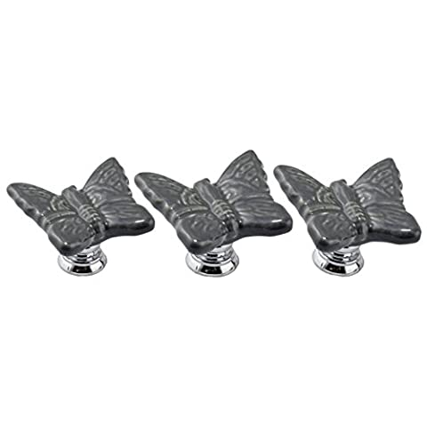 knob - TOOGOO(R) 5PCS Grey Cute Butterfly Porcelain Ceramic Knobs/Pull/Handle for Door Kitchen Cabinet Cupboard Chest Dressers Baby Kid's Children's Furniture with Screws