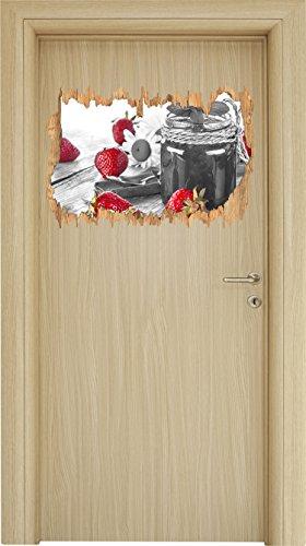 fruchtige Erdbeeren vor Marmeladenglas schwarz/weiß Holzdurchbruch im 3D-Look , Wand- oder Türaufkleber Format: 62x42cm, Wandsticker, Wandtattoo, Wanddekoration