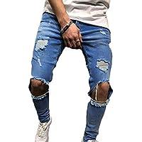 Juleya Pantalones de Mezclilla Ajustados de Mezclilla elásticos de los Hombres Pantalones de Mezclilla deshilachados desgarrados estirados Tamaño S-3XL