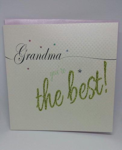 Oma die besten weiß Baumwolle Sparkling handgemachten Karten, Butterfly Happy Birthday Card (Happy Birthday Butterfly)