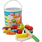 omyzam Hölzernes Geschnittenes Obst und Gemüse als Spielzeug Küche Simulation Bildungs Spielzeug für Kinder im Vorschulalter Kleinkinder Jungen Mädchen für Geeignet für Kinder ab 2 Jahren zum Spielen