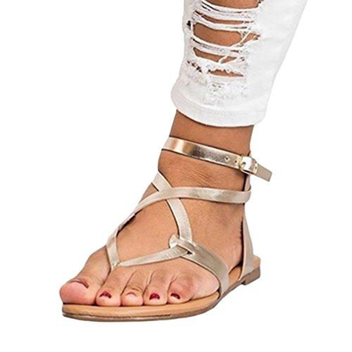 ZKOOO Roman Sandalias de Tacón Bajo para Mujer Verano Gladiador Tanga Sandalias Señoras Clip Toe Planas Zapatos Casual Dorado