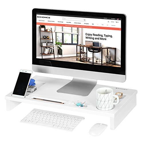 SONGMICS Monitorständer aus Bambus, ergonomischer Bildschirmständer mit Handyschlitz, Bildschirmerhöhung, für Computer, Laptop, Schreibtisch-Organizer, 60 x 30,2 x 8,5 cm, weiß LLD201WT
