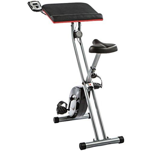 Ultrasport Heimtrainer F-Bike Work mit Handpuls-Sensoren und Workstation, klappbar