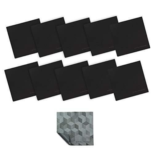 POLYCLEAN 10x Brillen-Putztuch aus Mikrofaser + 1x Gratis Ultratuch - Reinigungstuch für Tablet, Laptop, Smartphone & co. - Schutztuch für Display und Tastatur (17,5 x 17,5 cm, Schwarz)