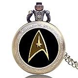 Reloj de Bolsillo Vintage, Star Trek, Reloj de Bolsillo para Hombres, Collar con Colgante, Reloj de Bolsillo de Cuarzo, Regalo