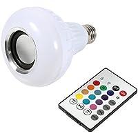 Yosoo - Bombilla LED inalámbrica con altavoz (RGB E27,12W, Bluetooth, con mando a distancia)
