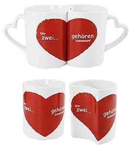 Partnertasse Paare Hochzeitsgeschenk Valentinstag Tassenset Wir Zwei gehören Zusammen