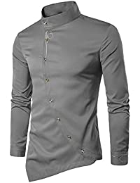 KEERADS Herren Hemden Slim Fit Langarm Unregelmäßige Ränder Asymmetrisch  Knopf… d81ae2031f