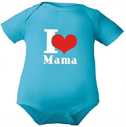 Petite Frimousse Body de bébé fille manches courtes garçon Motif Body pour bébé I love Mama - Bleu - 3 ans