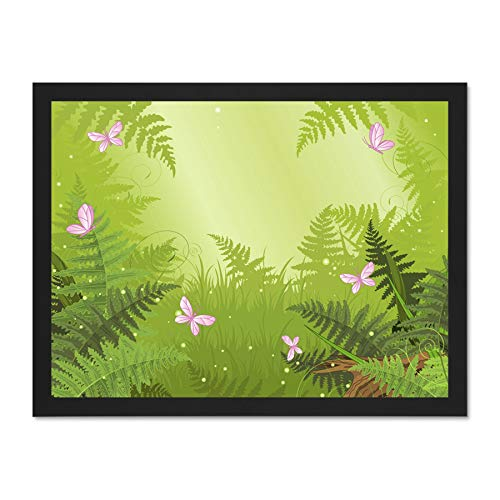 Doppelganger33 LTD Painting Butterfly Garden Fern Green Art Large Framed Art Print Poster Wall Decor 18x24 inch Supplied Ready to Hang -