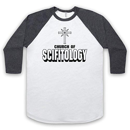 Church Of Scifitology Sci-Fi Lover Parody 3/4 Hulse Retro Baseball T-Shirt Weis & Dunkelgrau