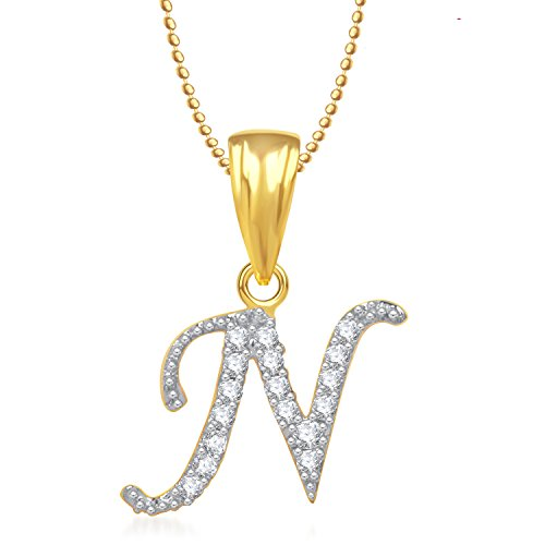 MEENAZ 'N' LETTER PENDANT LOCKET GOLD PLATED ALPHABET HEART FOR MEN AND WOMEN WITH CHAIN PS248