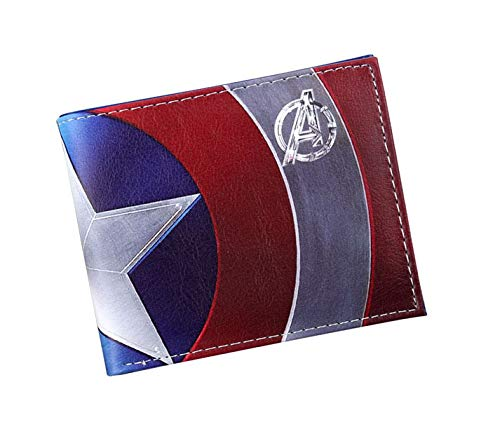 Brieftasche Comics Marvel Avengers Superheld Captain Shield Kunstleder Brieftasche Id Geldbörse, A -03