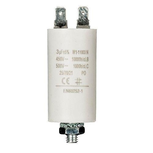 Condensador de arranque para motor electrico 3.0 uF 450 VAC, Cablepelado