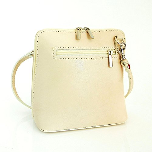 Vera Pelle Handtaschen Italien Echt Leder Schultertasche Frauen Damen Tasche Handtasche Ital Bag Beige Hell Plain