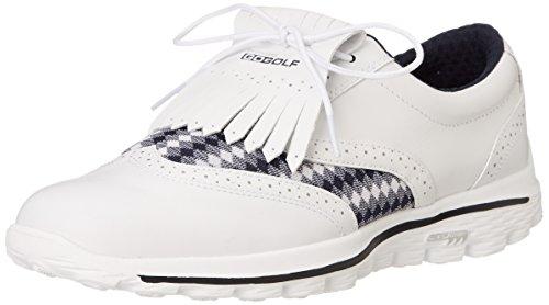 Skechers de Golf pour femme 2016Go Golf KILTIE en cuir Chaussures de golf sans crampon - multicolore - Blanc/bleu marine, 42 EU
