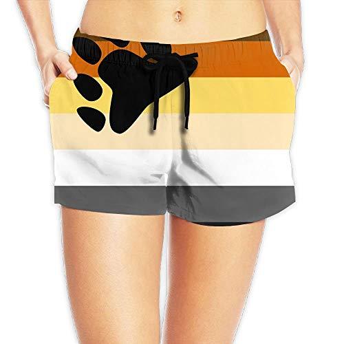 Jiger Bear Pride Flag Surfing Pocket Elastic Waist Women's Beach Pants Shorts Beach Shorts Swim TrunksL -