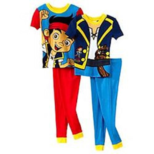 Disney Jungen 2T-4T Blau 4-teilig. Jake The Pirate Pyjama Set (2T, Rot/Blau)