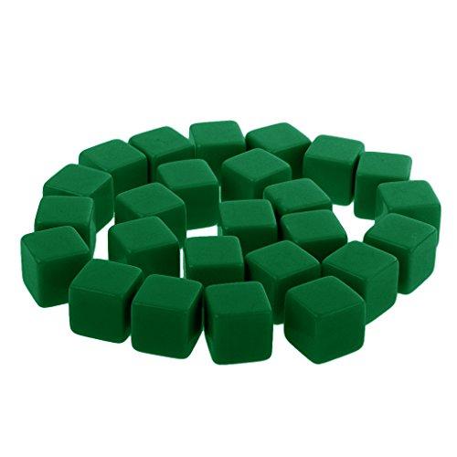 MagiDeal 25 Stück D6 sechsseitig Kunststoff Dice Blankowürfel Würfel Blanko Zubehör für Partyspiele, Tischspiele - 16 mm - Grün