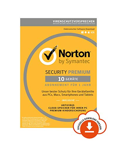 Norton Security Premium 2019 | 10 Geräte | 1 Jahr | PC/Mac/iOS/Android | Download -