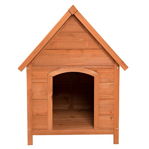 Ribelli Wetterfeste Hundehütte aus Braunem Tannenholz mit grünem Spitzdach – Hundehaus Hundehöhle mit Abnehmbarem Dach, ca. 66 x 82,5 x 74 cm - 2
