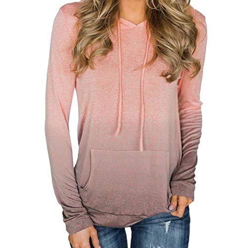 (Yvelands Damen Pullover Tasche Langarm Hoodies Sweatshirt T-Shirt Tops Bluse Weste(Rosa,S))