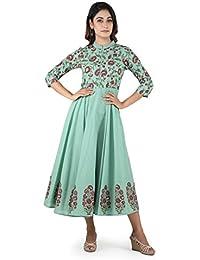 ANAYNA Women's Cotton Block Printed Anarkali Umbrella Long Dress (Green)