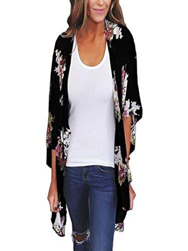 Luckycat Frauen Chiffon lose Schal Print Kimono Cardigan Top Cover Up Bluse Beachwear Mode 2018 (Baumwoll Print Cover Up)