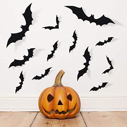 Archaeu Halloween Dekorationen PVC 3D Gruselige Fledermaus-Wandaufkleber Fenster-Aufkleber für Halloween-Party Zubehör (60 Stück). (Halloween Fenster Aufkleber)