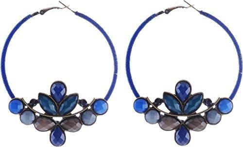 Vintage Creolen blau - Hängende Ohrringe mit Steinen - Designer Ohrringe (Designer Ohrringe)